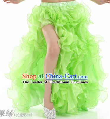 Traditional Indian National Belly Dance Light Green Bubble Split Skirt India Bollywood Oriental Dance Costume for Women