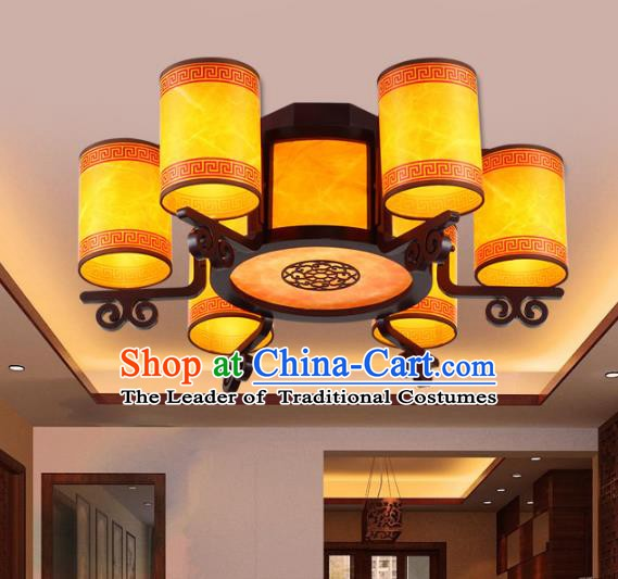 Traditional Chinese Ceiling Palace Lanterns Handmade Six-Lights Wood Hanging Lantern Ancient Lamp