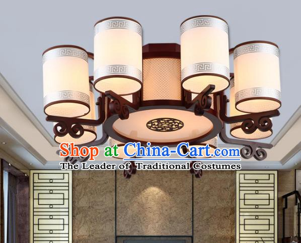 Traditional Chinese Ceiling Palace Lanterns Handmade Eight-Lights Wood Hanging Lantern Ancient Lamp