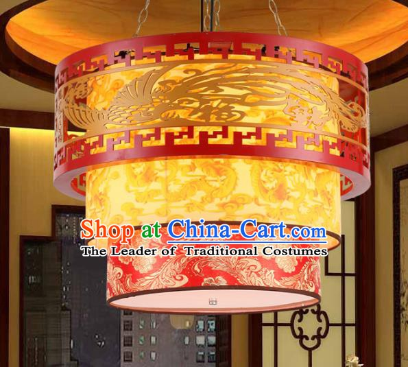 Traditional Chinese Wood Carving Phoenix Ceiling Palace Lanterns Handmade Hanging Lantern Ancient Lamp