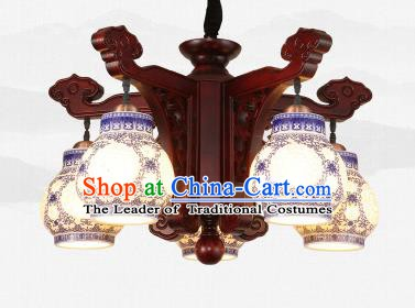 Traditional Chinese Five-Lights Ceiling Wood Palace Lanterns Handmade Porcelain Lantern Ancient Lamp