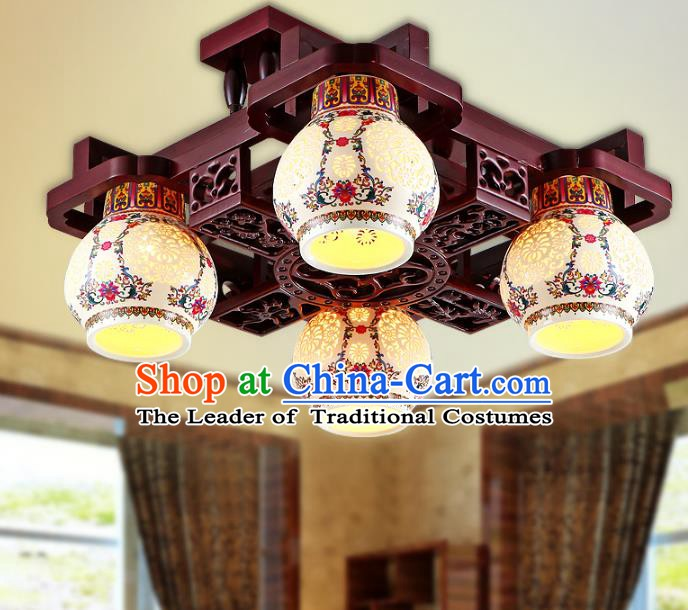 Traditional Chinese Porcelain Ceiling Palace Lanterns Handmade Four-Lights Lantern Ancient Lamp