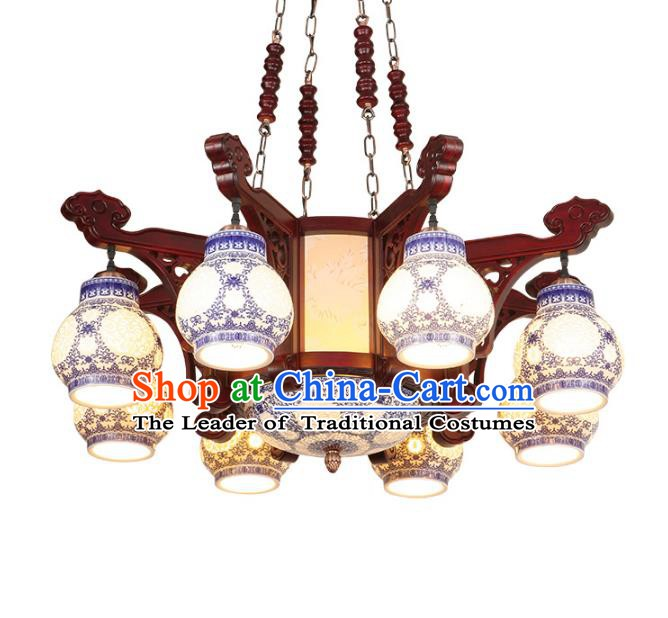 Traditional Chinese Eight-Lights Ceiling Wood Palace Lanterns Handmade Porcelain Lantern Ancient Lamp