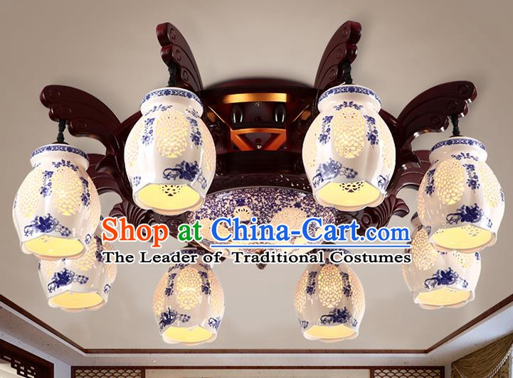Traditional Chinese Painting Ceiling Palace Lanterns Handmade Eight-Lights Blue Porcelain Lantern Ancient Lamp