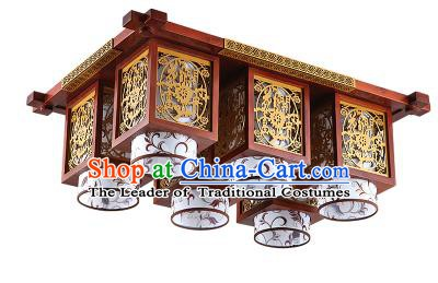 Traditional Chinese Wood Carving Hanging Ceiling Palace Lanterns Handmade Six-pieces Lantern Ancient Lamp