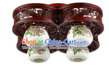 Traditional Chinese Porcelain Ceiling Palace Lanterns Handmade Four-pieces Lantern Ancient Lamp