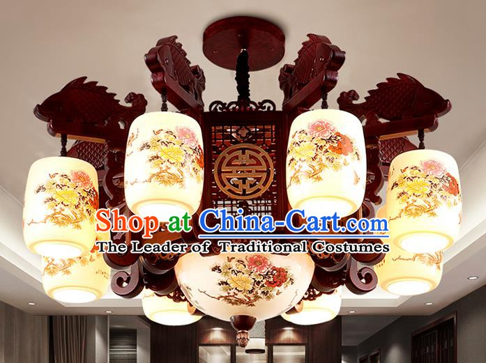 Traditional Chinese Painting Wood Ceiling Palace Lanterns Handmade Eight-pieces Lantern Ancient Lamp