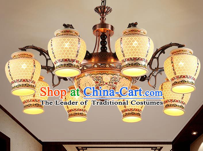 Traditional Chinese Wood Ceiling Palace Lanterns Handmade Colorful Eight-pieces Lantern Ancient Lamp