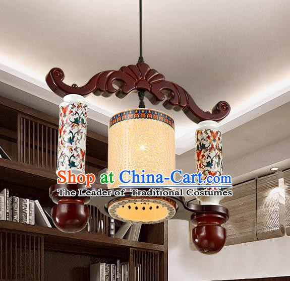 Traditional Chinese Painting Porcelain Hanging Ceiling Palace Lanterns Handmade Lantern Ancient Lamp
