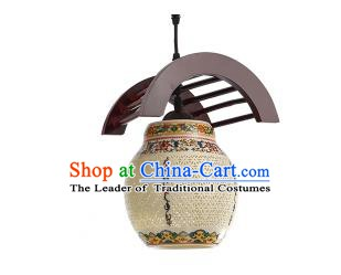 Traditional Chinese Colorful Porcelain Hanging Ceiling Palace Lanterns Handmade Lantern Ancient Lamp
