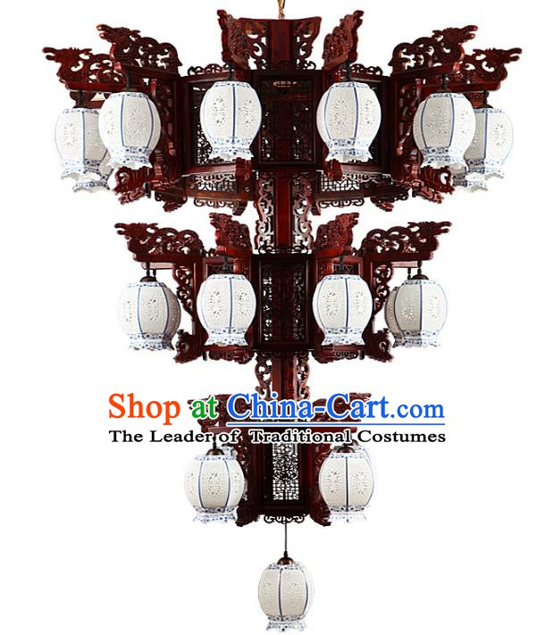 Traditional Chinese Twenty-Five Lights Porcelain Hanging Ceiling Palace Lanterns Handmade Lantern Ancient Lamp