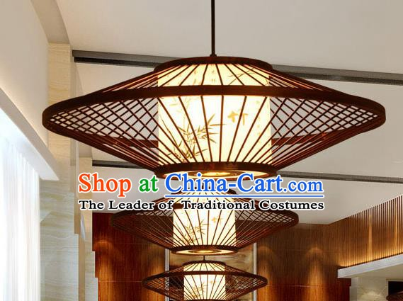Traditional Chinese Bamboo Weaving Hanging Lanterns Handmade Painting Bamboo Lantern Ancient Lamp