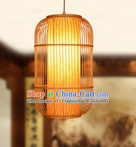 Traditional Chinese Bamboo Weaving Hanging Lanterns Handmade Birdcage Lantern Ancient Lamp