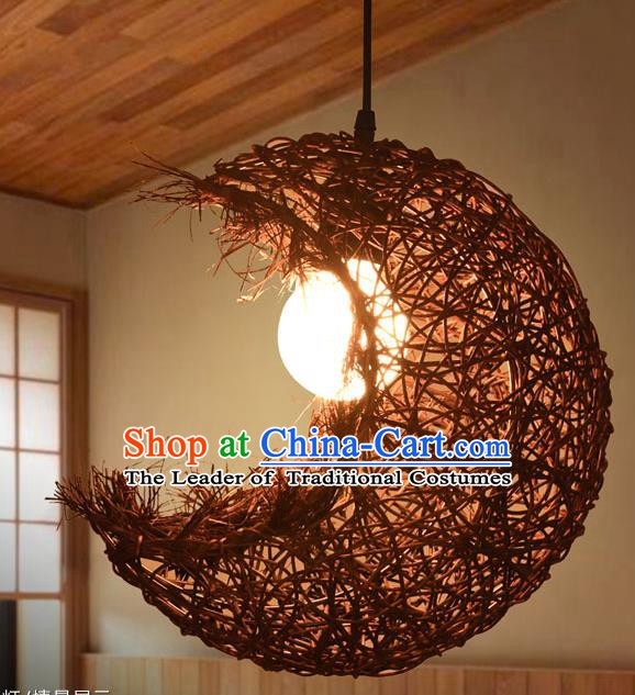 Traditional Chinese Straw Braid Moon Hanging Lanterns Handmade Ceiling Lantern Ancient Lamp