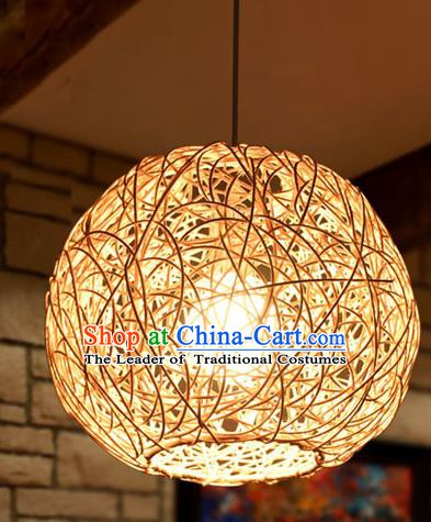 Traditional Chinese Straw Braid Round Hanging Lanterns Handmade Ceiling Lantern Ancient Lamp