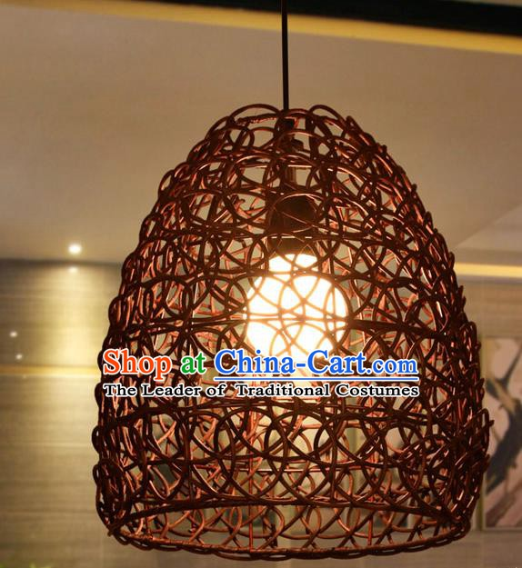 Traditional Chinese Rattan Hanging Lanterns Handmade Ceiling Lantern Ancient Lamp