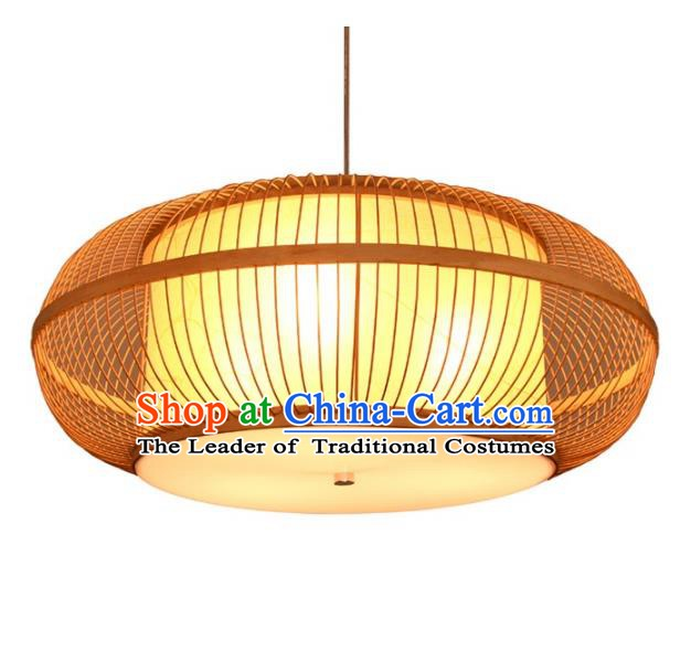 Traditional Chinese Rattan Round Lanterns Handmade Hanging Ceiling Lantern Ancient Lamp
