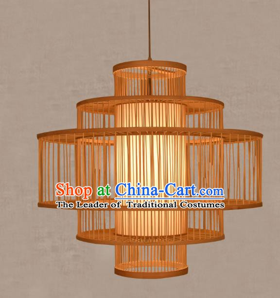 Traditional Chinese Bamboo Rattan Round Lanterns Handmade Hanging Ceiling Lantern Ancient Lamp