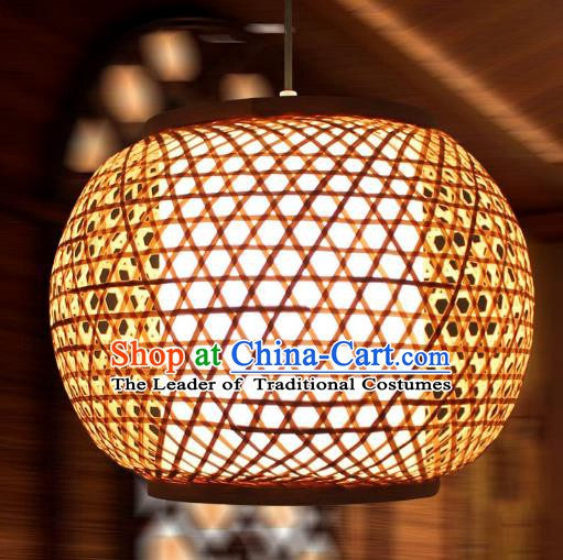 Traditional Chinese Straw Plaited Lanterns Handmade Hanging Ceiling Lantern Ancient Lamp
