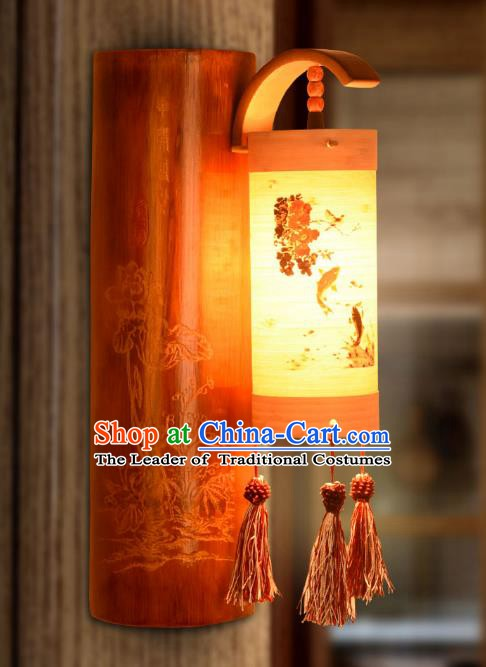 Traditional China Carving Lotus Bamboo Lanterns Handmade Lantern Ancient Wall Lamp