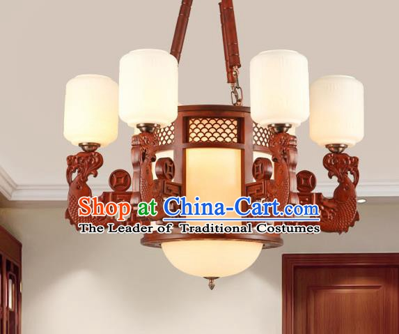 Traditional Chinese Wood Ceiling Lanterns Ancient Handmade Six-Lights Lantern Ancient Lamp