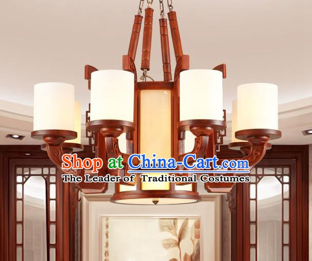 Traditional Chinese Wood Ceiling Lanterns Ancient Handmade Eight-Lights Lantern Ancient Lamp