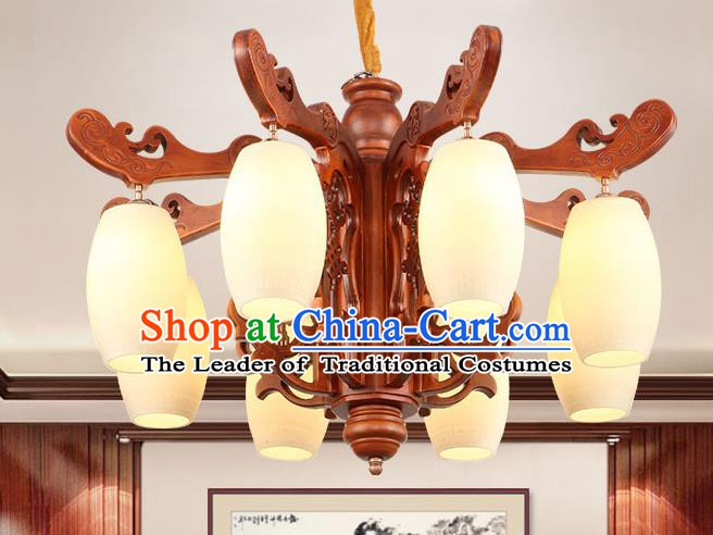Traditional Chinese Wood Ceiling Lanterns Ancient Handmade Eight-Lights Lantern Ancient Marble Lamp