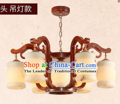 Traditional Chinese Wood Carving Ceiling Lanterns Ancient Handmade Hanging Marble Lantern Ancient Lamp