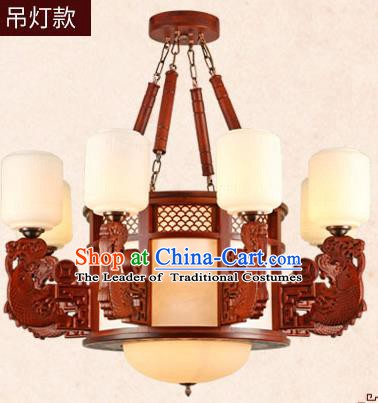 Traditional Chinese Wood Hanging Ceiling Lanterns Ancient Handmade Eight-Lights Lantern Ancient Lamp