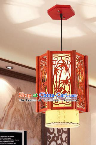 Traditional Asian Wood Carving Bamboo Lanterns Handmade Ceiling Lantern Ancient Hanging Lamp