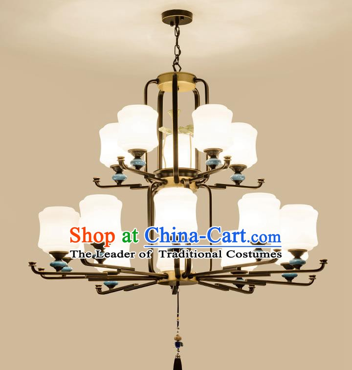 Traditional Chinese Fifteen-Lights Ceiling Lanterns Ancient Handmade Iron Lantern Ancient Lamp