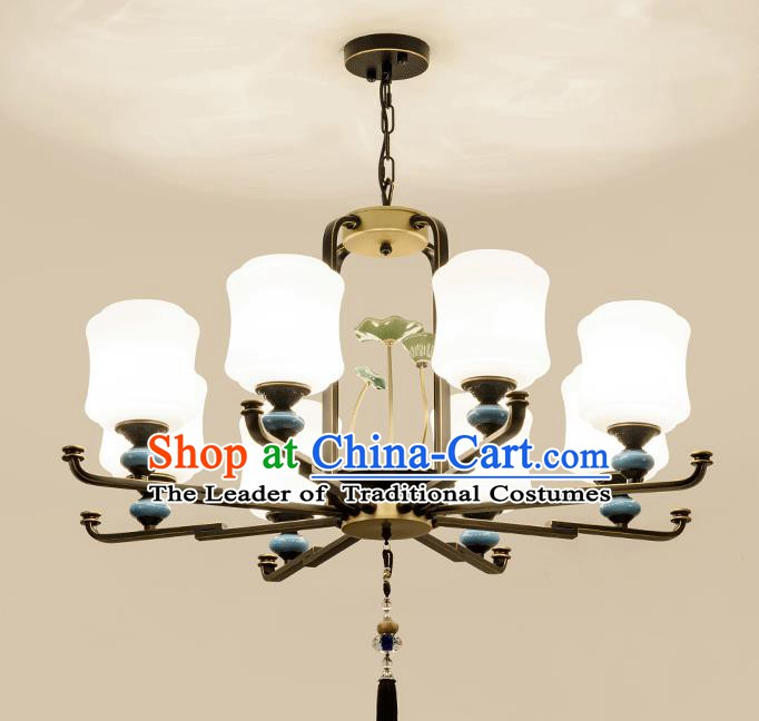 Traditional Chinese Eight-Lights Ceiling Lanterns Ancient Handmade Iron Lantern Ancient Lamp