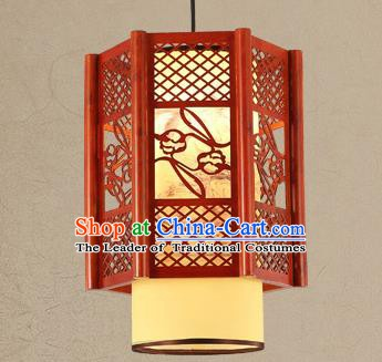 Traditional Asian Wood Carving Lanterns Handmade Ceiling Lantern Ancient Hanging Lamp