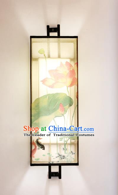 Traditional China Ancient Painting Lotus Wall Lanterns Handmade Lantern Ancient Lamp