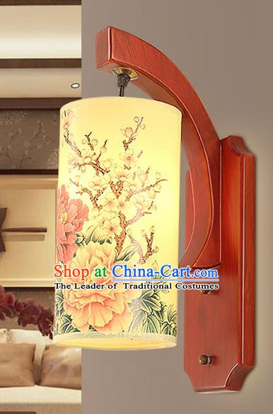 Traditional China Ancient Painting Peony Lanterns Handmade Wood Lantern Ancient Wall Lamp