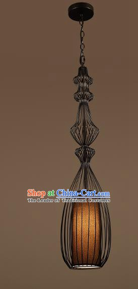 Traditional Chinese Black Iron Birdcage Ceiling Lanterns Ancient Handmade Hanging Lantern Ancient Lamp