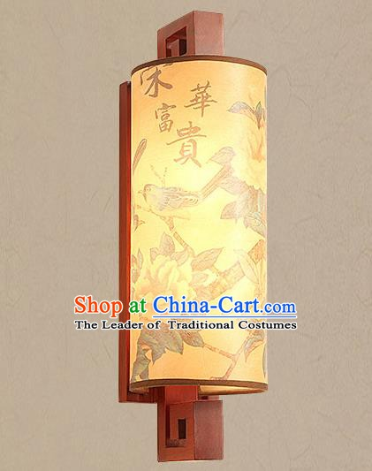 Traditional China Ancient Painted Peony Birds Lanterns Handmade Wood Lantern Ancient Wall Lamp