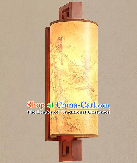 Traditional China Ancient Painted Birds Lanterns Handmade Wood Lantern Ancient Wall Lamp