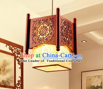 Traditional Chinese Wood Carving Hanging Lanterns Handmade Palace Ceiling Lantern Ancient Lamp