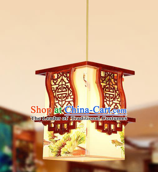 Traditional Chinese Wood Carving Hanging Lanterns Handmade Painting Palace Ceiling Lantern Ancient Lamp