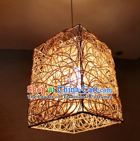 Traditional Asian Rattan Lanterns Handmade Hanging Ceiling Lantern Ancient Lamp