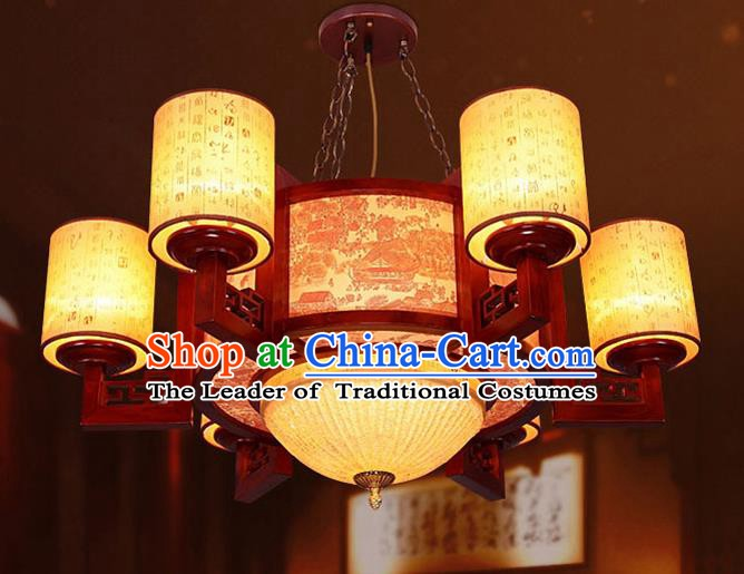 Traditional Chinese Painted Palace Ceiling Lanterns Handmade Wood Lantern Ancient Lamp