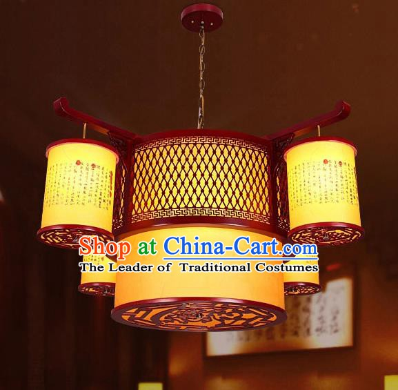 Traditional Chinese Wood Palace Ceiling Lanterns Handmade Hanging Lantern Ancient Lamp