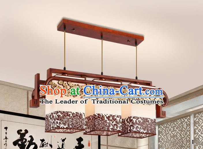 Traditional Chinese Carving Phoenix Palace Ceiling Lanterns Handmade Three-Lights Hanging Lantern Ancient Lamp