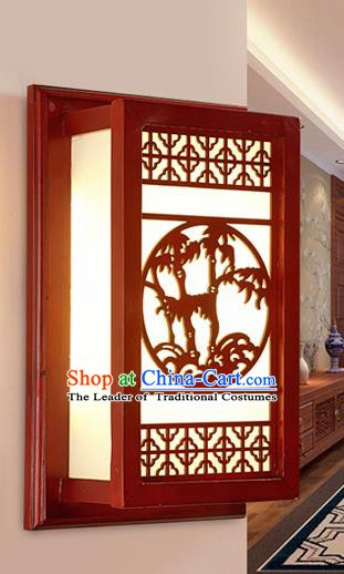 Traditional China Ancient Wall Lanterns Handmade Wood Carving Bamboo Lantern Ancient Lamp