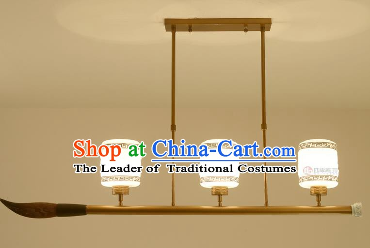Traditional Chinese Ceiling Lanterns Ancient Handmade Three-Lights Hanging Lantern Ancient Lamp