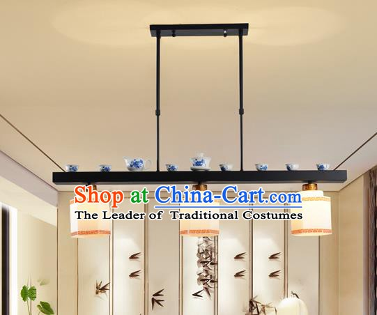 Traditional Chinese Iron Ceiling Lanterns Ancient Handmade Three-Lights Hanging Lantern Ancient Lamp