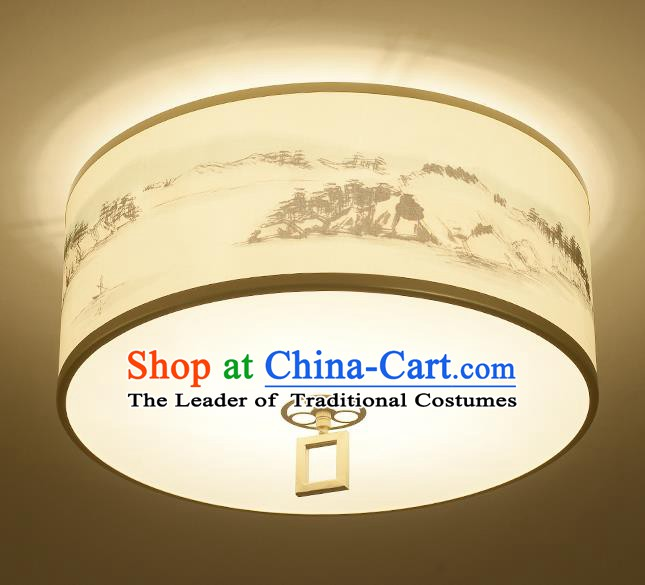 Traditional Chinese Ink Painting Landscape Lanterns Ancient Handmade Ceiling Lantern Ancient Lamp