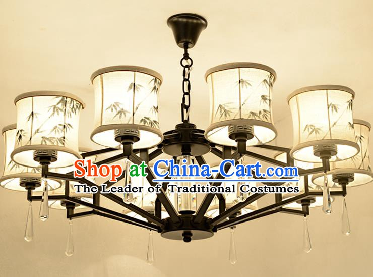 Traditional Chinese Ink Painting Bamboo Lanterns Ancient Handmade Ten-Lights Ceiling Lantern Ancient Lamp