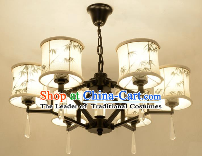 Traditional Chinese Ink Painting Bamboo Lanterns Ancient Handmade Six-Lights Ceiling Lantern Ancient Lamp